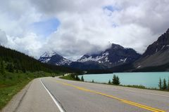 Beautiful day for a road trip: Scenic highway in Banff Nationalpark / Canada stock photo