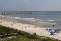 Beautiful day at the shore, with beachgoers enjoying the sunshine,Jax Beach,Florida,2015 Stock Photography