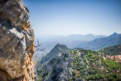 Beautiful day summer view on Kyrenia, Cyprus. Beautiful summer view on Kyrenia, turkish republic of northern cyprus from St. Hilarion Castle royalty free stock photography