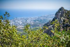 Beautiful day summer view on Kyrenia, Cyprus. Beautiful summer view on Kyrenia, turkish republic of northern cyprus from St. Hilarion Castle stock photo
