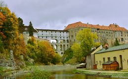 Cesky Krumlov Castle UNESCO World Heritage. Beautiful day view to castle in Cesky Krumlov, Czech Republic with river Vltava. Historic Krumlov Castle dating from Stock Photos