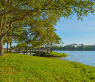 A beautiful day for a walk and the view of the wood bridge to the island at John S. Taylor Park in Largo, Florida. royalty free stock photos