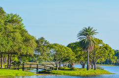 A beautiful day for a walk and the view of the wood bridge to the island at John S. Taylor Park in Largo, Florida. The view of the wood bridge to the island at stock images
