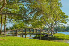 A beautiful day for a walk and the view of the wood bridge to the island at John S. Taylor Park in Largo, Florida. The view of the wood bridge to the island at royalty free stock photos