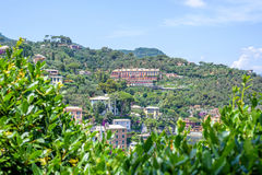 Beautiful daylight aerial view to a part of Portofino city Royalty Free Stock Image