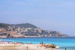 Beautiful daylight view to blue sea of Nice Cote d`Azur, France Royalty Free Stock Photo