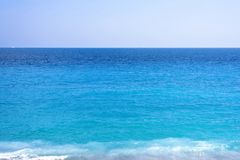 Beautiful daylight view to blue water of Nice Cote d`Azur Royalty Free Stock Image