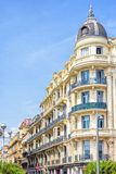 Beautiful daylight view to a hotel facade in Nice Cote d`Azur. France royalty free stock photo