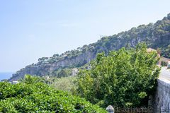 Beautiful daylight view to mountains of Villefranche-sur-Mer Stock Photo