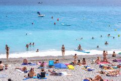 Beautiful daylight view to Nice Cote D`azur beach in France Royalty Free Stock Photos