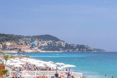 Beautiful daylight view to Nice Cote D`azur beach resort in France Stock Photos