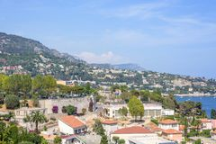 Beautiful daylight view to Villefranche-sur-Mer city resort Royalty Free Stock Photo