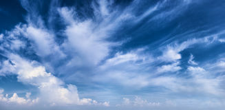 Beautiful daytime sky with clouds. Beautiful daytime sky with white clouds stock photo