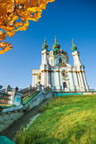 Beautiful daytime view of St Andrew's Church, Kiev Stock Photos