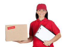 Beautiful dealer with box and clipboard Royalty Free Stock Images