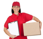 Beautiful dealer with box and clipboard Stock Photos