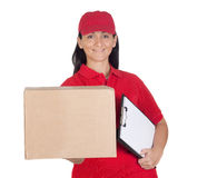 Beautiful dealer with box and clipboard Royalty Free Stock Photo