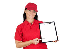 Beautiful dealer with clipboard to get the signatu Royalty Free Stock Image