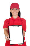 Beautiful dealer with focus on clipboard getting Royalty Free Stock Photography