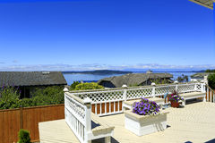 Beautiful deck with scenic bay view Royalty Free Stock Image