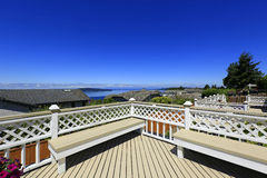 Beautiful deck with scenic bay view Royalty Free Stock Photo