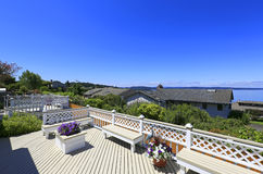 Beautiful deck with scenic bay view Stock Photos