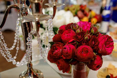 Beautiful decor of flowers on the wedding table Stock Photo