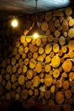Beautiful decor wall of wooden logs Stock Photos