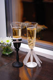 Beautiful decor wedding champagne glasses Royalty Free Stock Photography