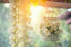 Beautiful decor, white cage with flowers hanging by the window stock photos