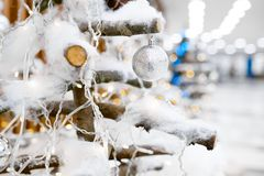 Decorate Christmas tree with toys Royalty Free Stock Photos