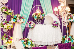 Beautiful Decorated Baby Bassinet Stock Photos