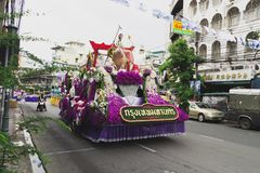 New year in thailand parade on holiday car decorated with flower. Beautiful decorated cars with flowers and fabrics for the new year Thailand, Bangkok, April 12 Royalty Free Stock Photos
