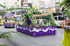 New year in thailand parade on holiday car decorated with flower. Beautiful decorated cars with flowers and fabrics for the new year Thailand, Bangkok, April 12 Royalty Free Stock Images