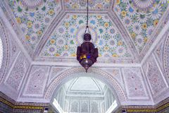 Beautiful Decorated Ceiling in Bardo Museum, Tunis, Tunisia royalty free stock photography