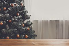 Christmas decorated tree, close up, copy space on window Stock Image