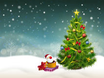 Beautiful decorated Christmas tree and gifts background Royalty Free Stock Images