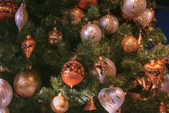 Beautiful decorated christmas tree with gold and white Christmas decoration ball. stock photos
