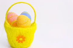Easter-a great holiday. Beautiful decorated Easter eggs in a yellow basket ,photography Stock Photography