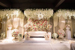 Beautiful decorated English theme wedding altar Royalty Free Stock Photos