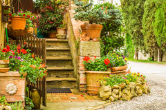 Beautiful decorated entrance to a house in the countryside stock photography
