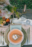 Beautiful decorated table for the wedding dinner. Top view Royalty Free Stock Photo