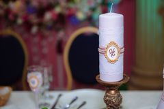 Beautiful decorated wedding restaurant for marriage. Colorful decoration for celebration. Beauty bridal interior Royalty Free Stock Photos