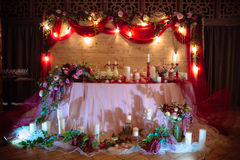 Beautiful decorated wedding restaurant for marriage. Colorful decoration for celebration. Beauty bridal interior Royalty Free Stock Photography