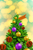 Beautiful decorated Xmas Tree on abstract background Stock Image