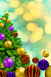 Beautiful decorated Xmas Tree on abstract background. For Merry stock illustration