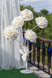 Beautiful decoration artificial rose. Flower in white tone background Stock Photos