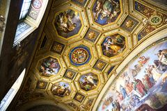Beautiful decoration of the ceiling in the Vatican, Italy. 2017-08-17 royalty free stock photography