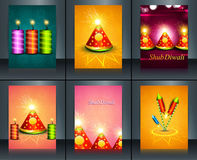 Beautiful decoration Happy Diwali diya festival crackers. Brochure collection template background Stock Photos