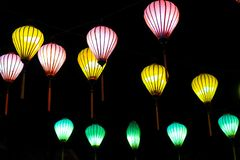 Beautiful of decoration Lanterns light in Night Market of Hoi An, Vietnam. stock images